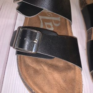 Shoes - ♡ 3/$25 Black Buckle Sandals ♡
